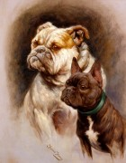 Entente Cordiale by Fannie Moody. The paiting depicts an English and French bulldog.
